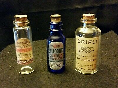 Vintage Style Fly Fishing Glass Bottles...Set of 3...Artist Handcrafted ...Nice