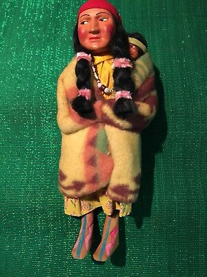 Vintag ANTIQUE SKOOKUM INDIAN COMPOSITION DOLL, MOTHER W PAPOOSE BABY