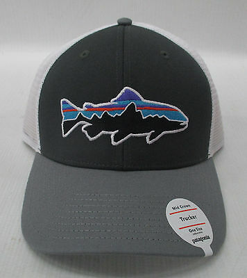 85578e3a993eb Patagonia Mens Fitz Roy Trout Trucker Snapback Cap Hat 38008 Forge  Grey Feather