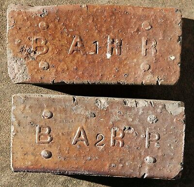 Antique Brick Pavers - Barr Clay Co. Streator Illinois IL With Rare Numbers 1,2