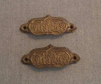 "Antique French Provincial Eastlake Drawer Pulls 3 1/8"" Bore Brass Victorian"