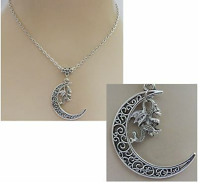 Silver Dragon Moon Pendant Necklace Jewelry Handmade NEW adjustable Accessories