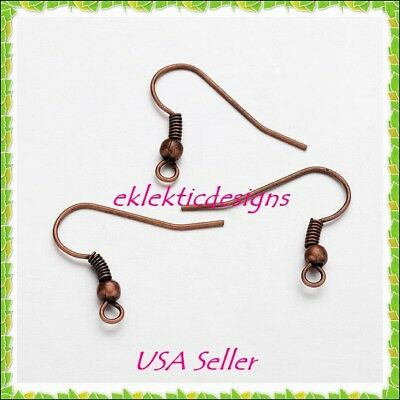 50pcs Antique Copper Bronze Hook French Wire Bead Coil Earrings Findings 25pr