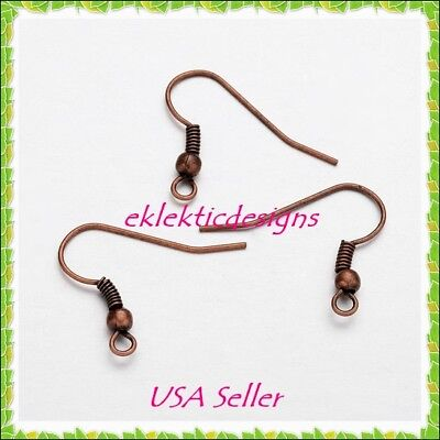 100pcs Antique Copper Bronze Hook French Wire Bead Coil Earrings Findings 50pr