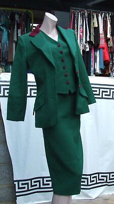 Alberta Ferretti Studio Vintage 100% Wool Green 3 Pc Waistcoat Skirt Jacket Suit