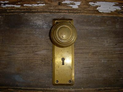 Vtg Rustic Brass Door Knob Corbin Heavy Cast Brass Back Plate Nice Aged Patina