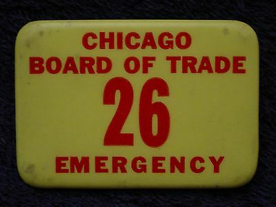 RARE 1960's? Chicago Board of Trade EMERGENCY Messenger BADGE Button Pinback Pin