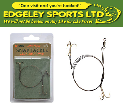 Drennan E-Sox Snap Tackle Treble Traces Barbed & Semi Barbed (Various Sizes)