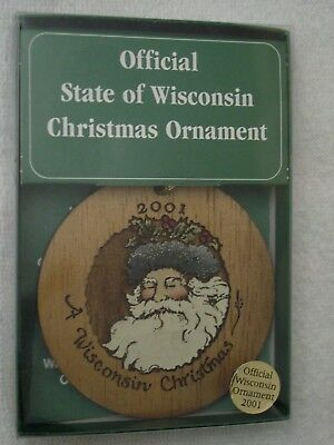 Scarce 2001 OFFICIAL State of WISCONSIN Christmas Ornament SANTA Orig Kohl's Box
