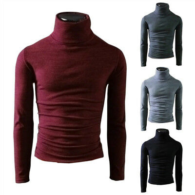 Men Turtleneck Jumper Merino Wool Pullover Knitted Polo Roll Neck Knit Top BY