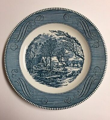 """Blue & White Currier and Ives The Old Grist Mill Dinner Plate 10"""" by Royal USA"""