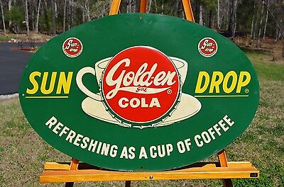 Vintage Sun Drop Golden Girl Cola Soda Dicut Sign Nos Rare Birthmark Piece Mint