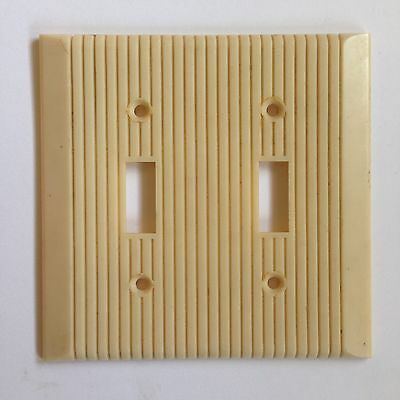 Vintage Ivory White Deco Ribbed Plastic Switchplate Light Cover 2 Double Switch