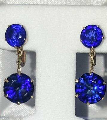 Gorgeous Antique Victorian  rose gold sapphire earrings screw back 12.75ct