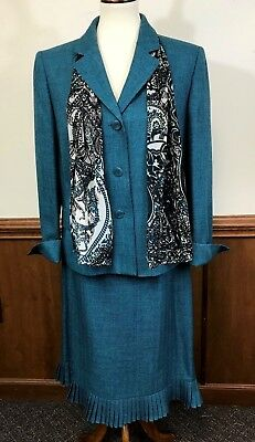 Le Suit Women's Ladies Long Sleeve Tweed Teal Skirt Suit Size 16 With Scarf