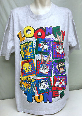 Vintage 1994 Looney Tunes 2XL Gray Bugs Bunny Daffy Tweety T-Shirt Taz