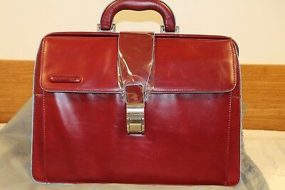 Piquadro Women's Red Calfskin solLeather Doctor's Tote Bag Briefcase Top Handle