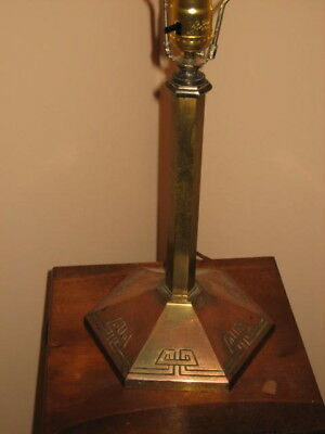 Antique Bradley & Hubbard B&H Lamp Six Sided Base Copper Brass Wash Misson Style