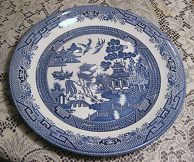 """Churchill Blue Willow 12 3/4"""" Round Platter Staffordshire England Mint In Box"""
