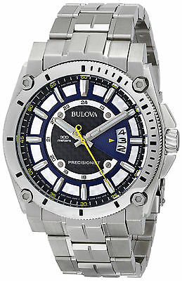 Bulova 96B131 Men's Precisionist Stainless Steel Black/Blue Dial Date Watch