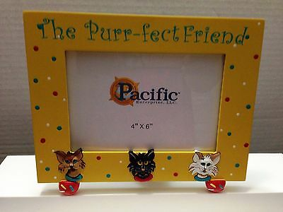 "Cat Picture Frame The Purr-Fect Friend Yellow For 4"" X 6"" Photo Hand Painted"