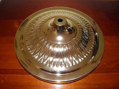 """Vintage,  round, brass plated steel, floor lamp base and weight. 11"""" in diam."""