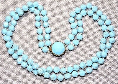 Vintage Blue Turquoise Color Faceted Czech Glass 2 Strand Necklace