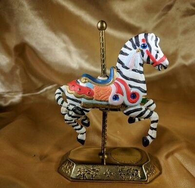 VINTAGE Westminster Carousel Collection Brass And Porcelain Zebra