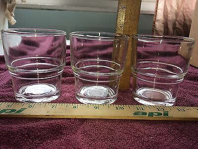 "3 VTG Vereco Duralex Clear Cocktail Glasses 3.5"" tall Made in France RARE 8 oz"