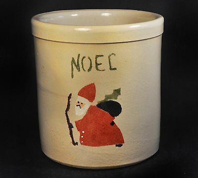 "RRP Robinson Ramsbottom Potter 2 Quart ""Noel"" Canister w/ Vintage Santa Claus"