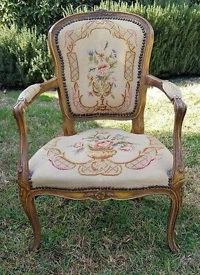 Antique LOUIS XV STYLE Arm Chair Fauteuil with Needlepoint Footed Floral Urns