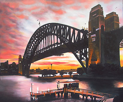 canvas original art print sydney bridge harbour australia  painting