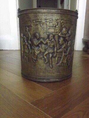 Large Vintage Brass Bucket With Handle