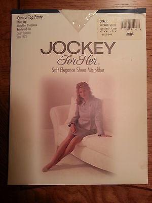 """Vintage Pair Jockey Sheer Control Top Pantyhose In Antique White A  Up To 5'  4"""""""