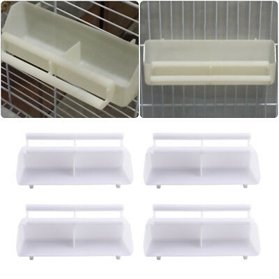 2/4/6Pcs White Bird Cage Plastic Feed Cup Seed Water Dispenser Bird Food Box