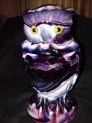"Imperial Purple Slag Glass 2 Piece Owl Dish 6 3/4"" It Has It's Label"