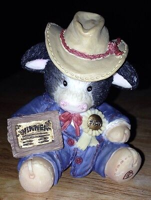 "Enesco MARY'S MOO MOOS ""PRIME CHOICE"" FIGURINE 1994 Cowboy Hat"