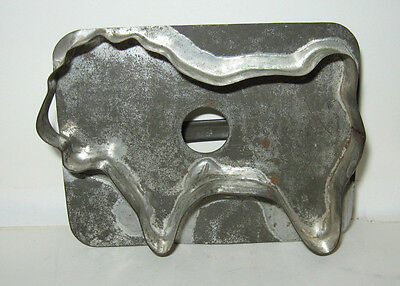 Antique Metal Tin Lion Cookie Cutter Flat Back Primitive Hand Made