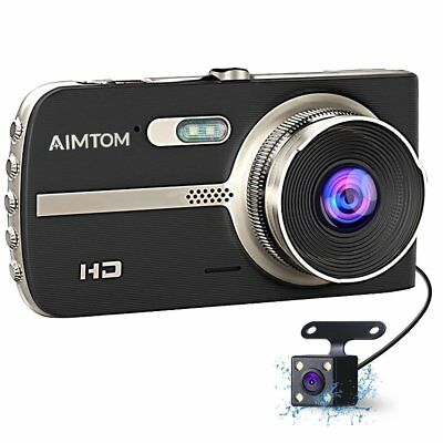 "4"" HD 1080P Dual Lens CAR DVR Dash Cam Video Recorder Night Vision + Rear Camera"
