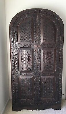 Antique, original Afgan hand carved, solid wood cabinet