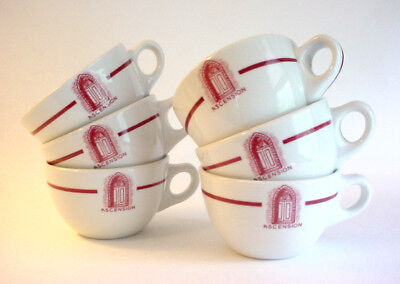 6 Vintage Heavy Ceramic Coffee Cups- Diner Style- ASCENSION- Iroquois China