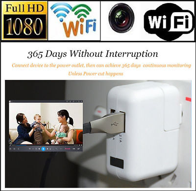 HD 1080P Wifi Spy Hidden Camera USB Wall Charger MINI Recorder Motion Detection