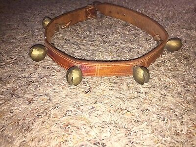"Vintage Christmas Sleigh Bells 5 Brass Jingle Bells 26.5"" Leather Strap Horse"