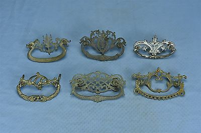 Antique LOT of 6 VICTORIAN PIERCED CAST BRASS DRAWER HANDLE PULL HARDWARE #03592
