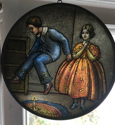 Rare unique STAINED GLASS nursery rhyme Franklin Art Glass Studio's
