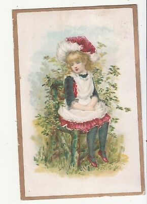 Girl Sitting Mossy Chair Outside White Pinafore No Advertising Vict Card c1880s