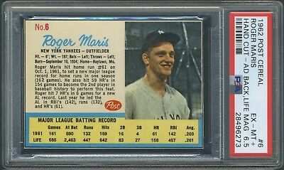 1962 Post Cereal #6 Roger Maris  Life Magazine Ad Back PSA 6.5