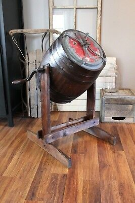 Antique Hibbard Spencer Bartlett & Co HSB&Co Oak Barrel Butter Churn Early 1900s