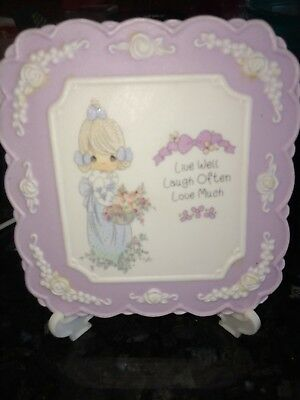 Precious Moments Plaque Live Well Laugh Often Love Much Lavender 4x4 collectors