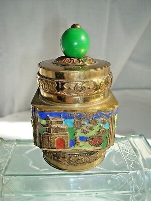 Small Antique Chinese Brass Cloisonne Snuff Tobacco/Tea Box with Lid